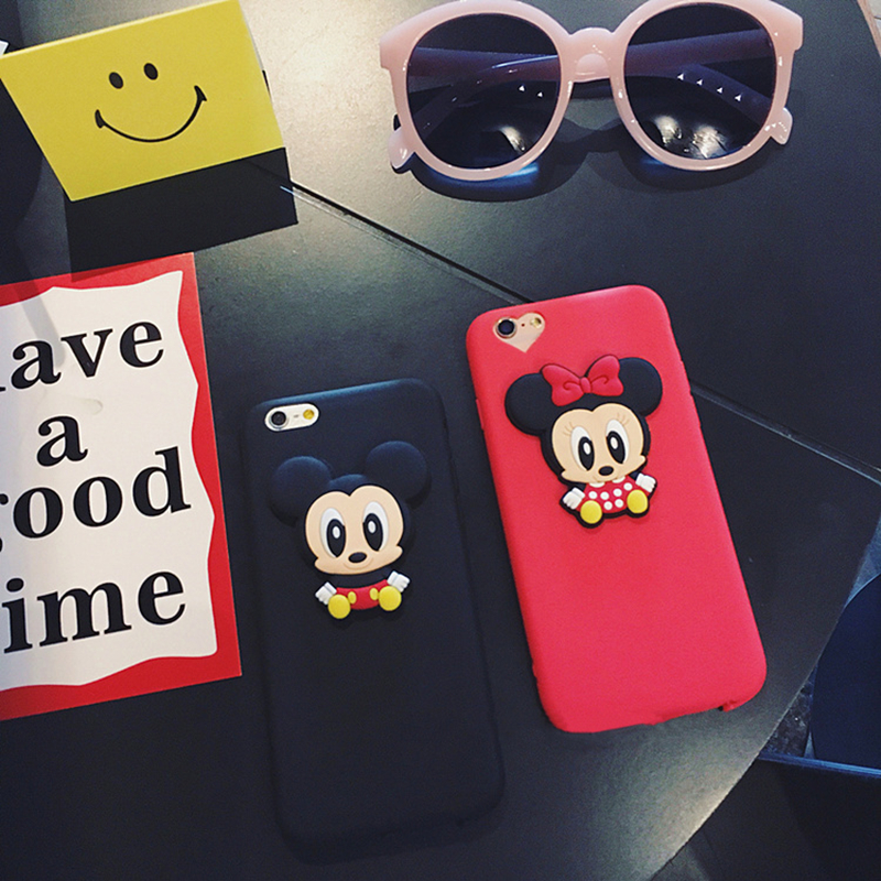 Fashion lovely 3D Cute Mickey Minnie mouse cartoon animal silicone TPU phone Cases for iphone 5 6 6s 7plus 8 black cover coque