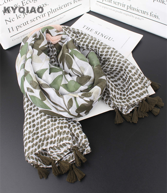 KYQIAO Women head   scarf   2019 mori girls spring autumn Japanese style fresh design long green leaves print   scarves   muffler   wraps