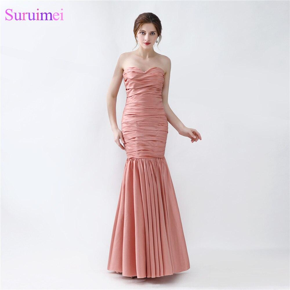 Long Mermaid Evening Dress New Design Peach Brown Taffeta Formal Evening Gown Women Prom Dresses