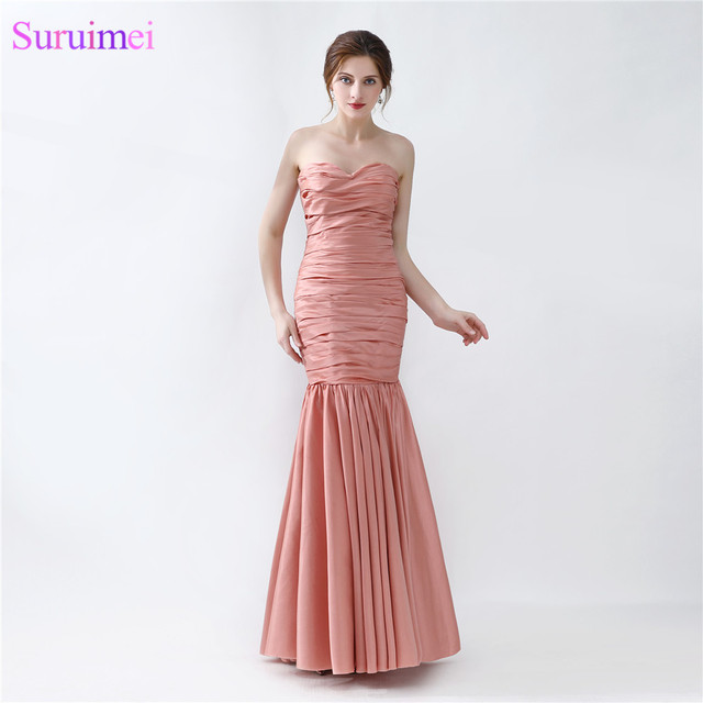 Long Mermaid Evening Dress New Design Peach Brown Taffeta Formal ...