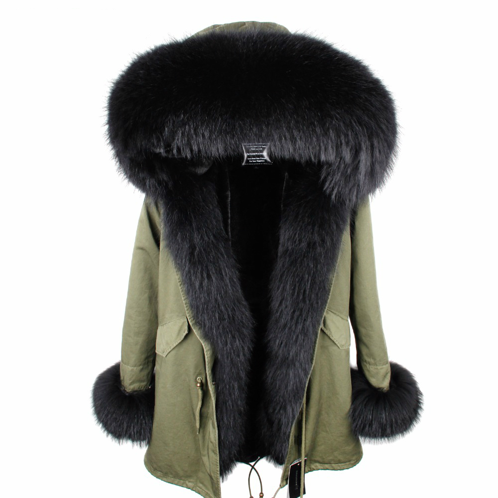 2019 Fur   Parka   Women Winter Hooded Jacket Coat Real Fur Coat Jacket Long   Parkas   Natural Raccoon Fur Collar Thick Warm Streetwear