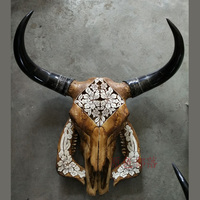 Head Arts Crafts Tibetan Natural Carving Old Yak Skull Sheep Skull Decoration Wall Decoration Package Mail