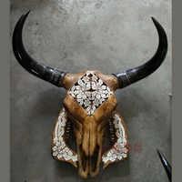 Kopf Kunst Handwerk Tibetischen natürliche carving Alten Yak schädel schafe schädel dekoration wand dekoration paket mail proben