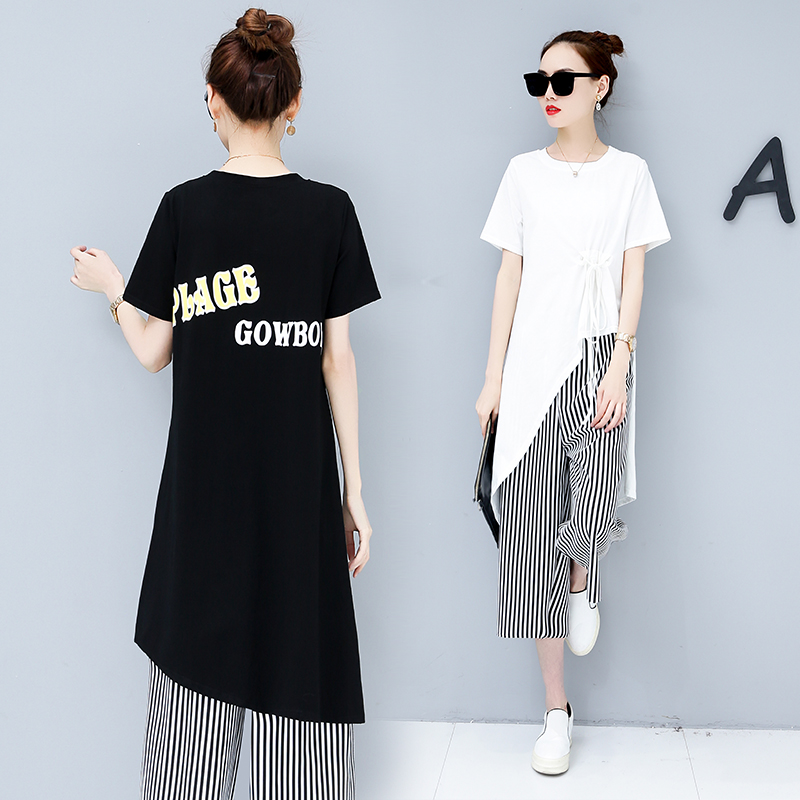 Summer Casual Two Piece Sets Women Black White Short Sleeve Tshirt And Striped Wide Leg Pants Sets Suits Plus Size Women's Sets 33