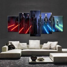 Science Fiction Cartoon Movie Star Wars 5 Piece Painting Wall Art Canvas HD Print For Room Home Decor Picture