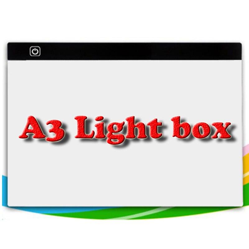 A3 diamant peinture point Dimmable Ultra mince A3 lumière LED tablette Pad diamant broderie point de croix couture mosaïque outils