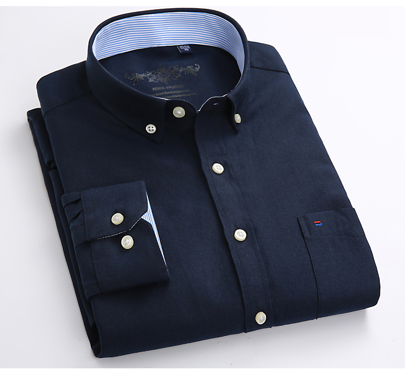 Mens Long Sleeve Solid Oxford Dress Shirt with Left Chest Pocket High-quality Male Casual Regular-fit Tops Button Down Shirts 11