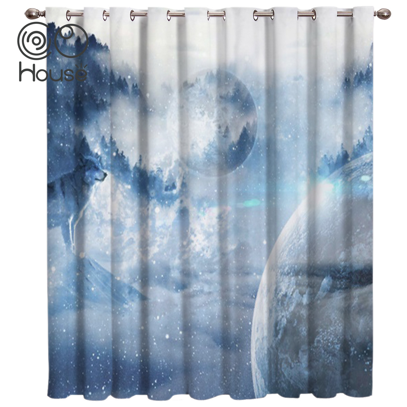 CoCoHouse Planet And Wolf Window Treatments Curtains Valance Living Room Blackout Curtains Kitchen Indoor Drapes Decor Print Kid