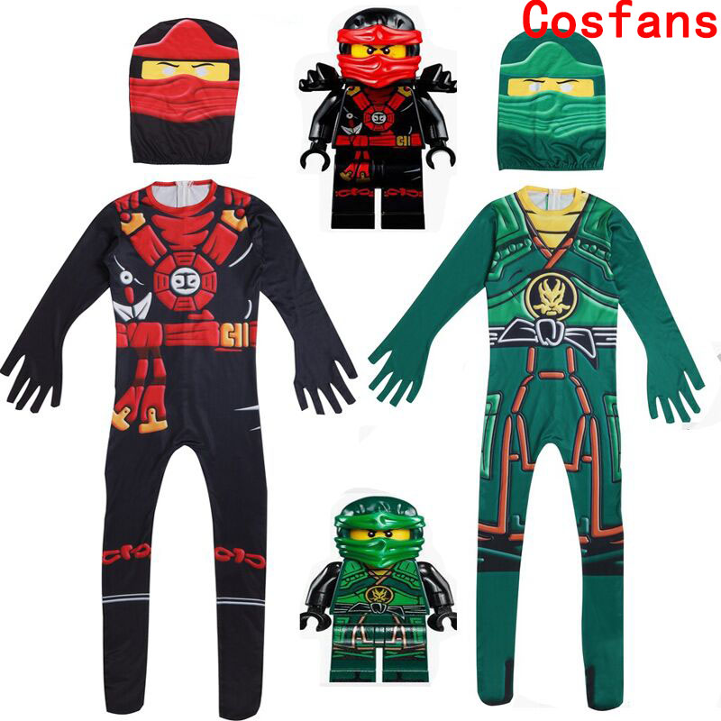 Boys Jumpsuits Ninjago Cosplay Costume Boys Bodysuit Kids Fancy Party Dress Halloween Clothes Children Festive Party Costumes