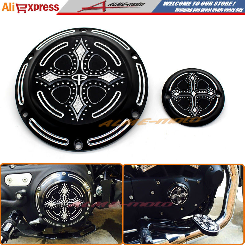 CNC Engine Cover Cross Derby & Timing Timer Cover For Harley XL XR Sportster Iron 883 1200 XLH883 XL883N XL1200V XL1200X XL1200R cnc engine cover cross derby