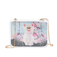 The New Fashion ladies chain shoulder messenger bag solid color mobile phone small square childrens printing
