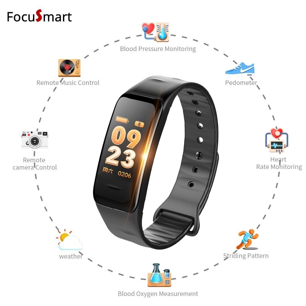 FocuSmart 2018 New Color screen Smart bracelet IP67 wristband heart rate monitor Blood pressure Bracelet Fitness Tracker band