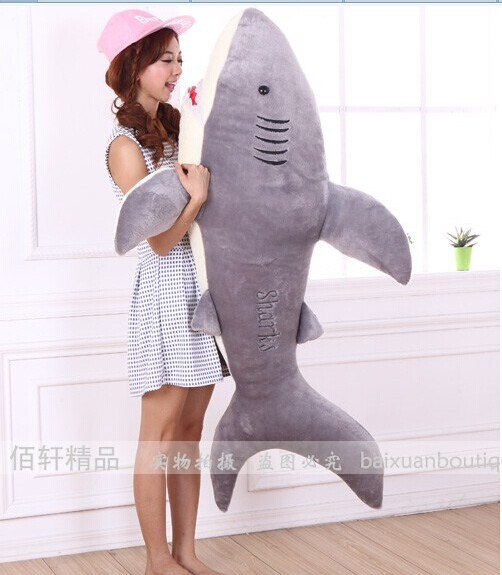 stuffed animal 55 inch grey shark plush toy shark doll throw pillow surprised gift w3827 stuffed animal 110cm plush tiger toy about 43 inch simulation tiger doll great gift free shipping w018