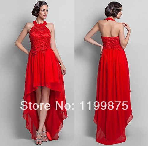 2014 sheath high neck asymmetrical chiffon red lace