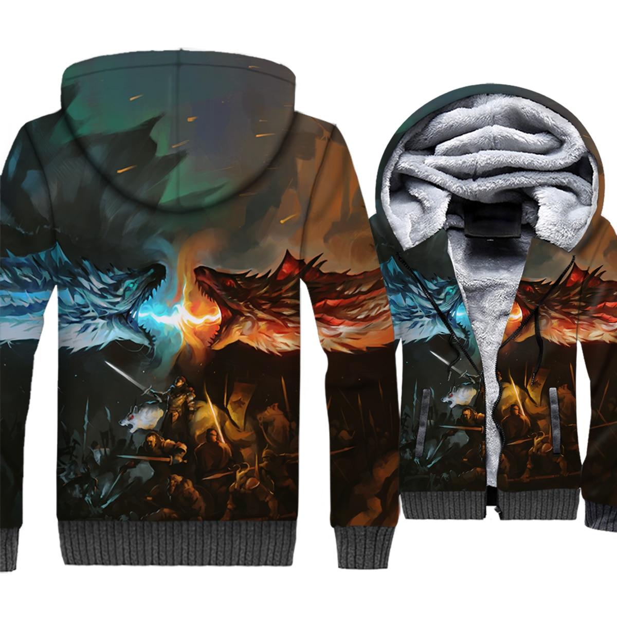 Game of Thrones Jacket Men 3D Hoodies House Targaryen Dany Dragon Sweatshirt 2018 Winter Thick Fleece Coat Hip Hop Streetwear
