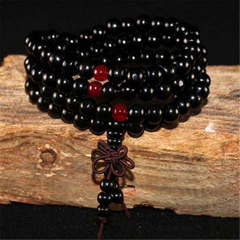 Sandalwood negro 108 cuentas Rosario pulseras mujeres hombres joyería oración madera Natural cuentas homme