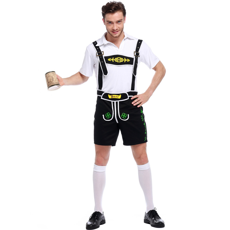 Costumes Adult Men Beer Festival Black and White Suspenders+Top Suit Munich National Costumes Oktoberfest Event Cosplay Costumes