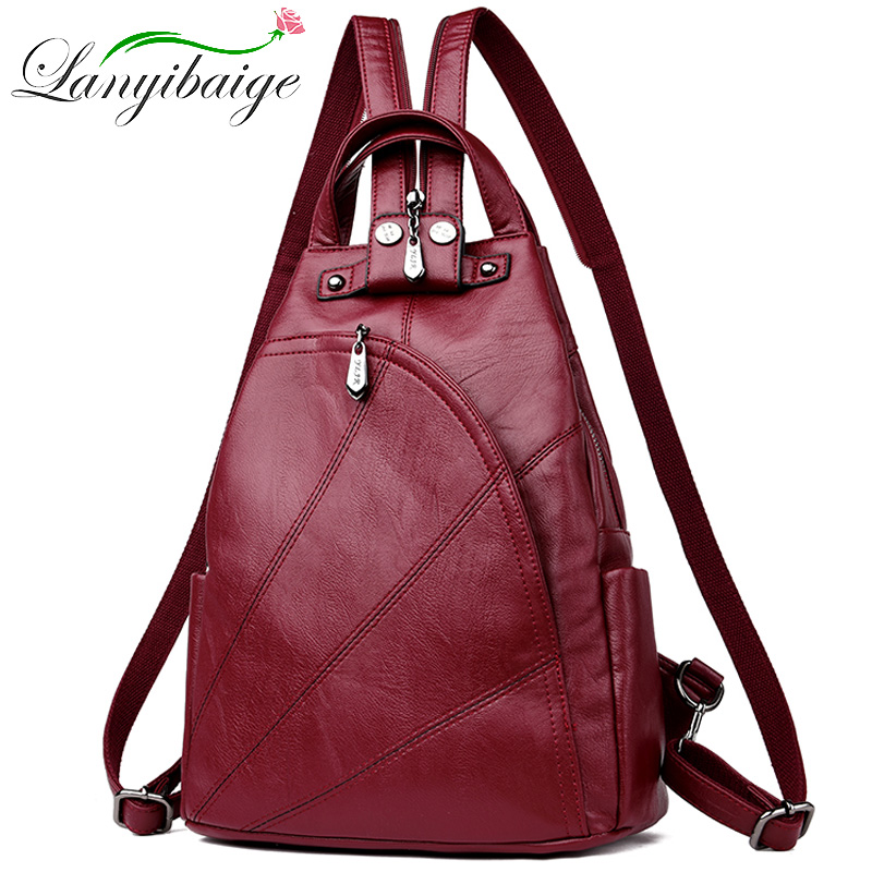 Women Leather Backpacks Female Anti-theft Shoulder Bag Sac A Dos Ladies Bagpack Vintage School Bags For Girls Travel Back Pack