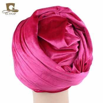 5 pieces Wholesales Women Fashion Hijab Turban Head Wrap Scarf Tie Extra Long Velvet Turban