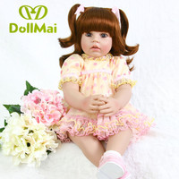 Adoras princess girl reborn toddler doll 24 handmade silicone vinyl reborn baby dolls toys for children gift bebe reborn