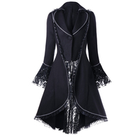 LANGSTAR Fashion Autumn Lace Panel Lace Up High Low Coat Women One Button Solid Color Female