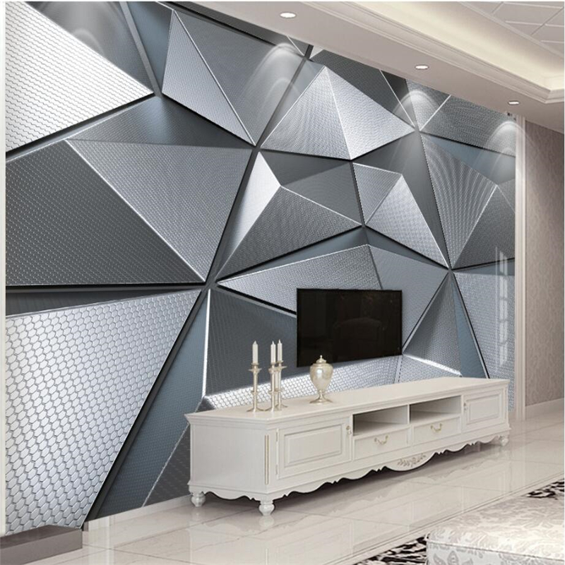 Beibehang Wallpaper Custom Living Room Bedroom Wallpaper Mural 3D Geometric Atmosphere Atmospheric Metal Background Wall