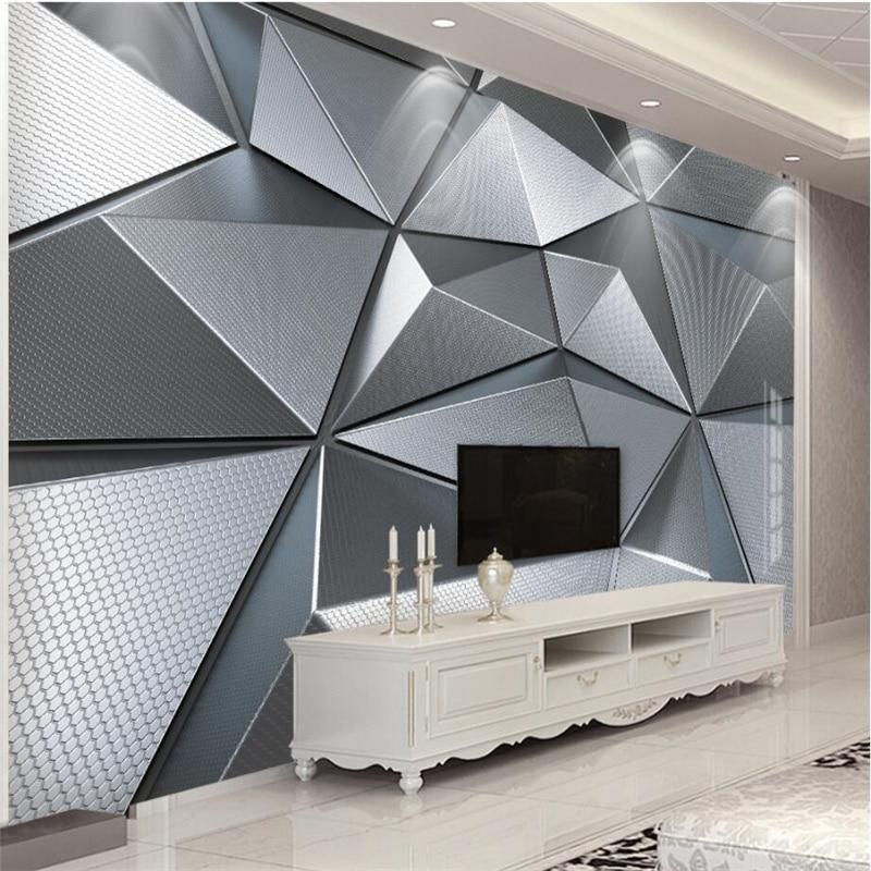 Beibehang Wallpaper Custom Living Room Bedroom Wallpaper Mural 3D Geometric Atmosphere Atmospheric Metal Background Wall