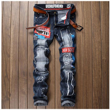 2017 Mens Patchwork Badge Jeans Fashion Slim Fitness Pants Autumn Male Brand Clothing Denim Trousers Straight Calca Masculina