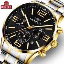 OLMECA Men's Watch Luminous Chronograph Waterproof Fashion Auto Date Dress Luxury Quartz Wrist Watches relogio masculino auto date