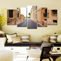 5 Pieces Canvas Painting Wall Art City Street Tall Buildings Landscape Decorative Pictures For Living Room