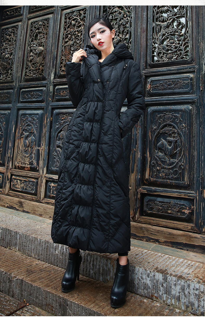 new 2018 woman's winter duck   down     coat   ultra long maxi warm parka with a hood hat for female ladies black red plus big size xxl