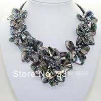 Hot sale new Style >>>natural Black pearl black shell mother of pearl 7 flower pendant necklace