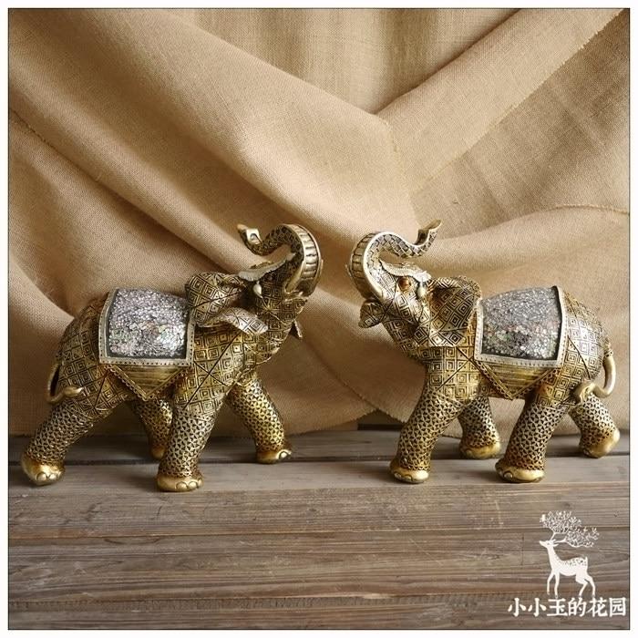 2pcsset southeast asia gold fortune elephants living room