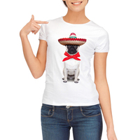 2017 Newest Summer Fashion Dog With A Hat Design T Shirt Women S Cool Design High