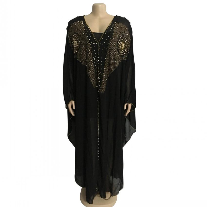 Robes africaines pour femmes perles Robe longue musulmane Dashiki diamant afrique vêtements Bazin Broder Riche Robe soirée Robe noire