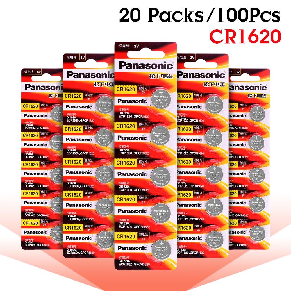 PANASONIC 100 pièces 3 V CR1620 LM1620 DL1620 ECR1620 5009LC pile bouton pile bouton pour regarder les ordinateurs télécommandés