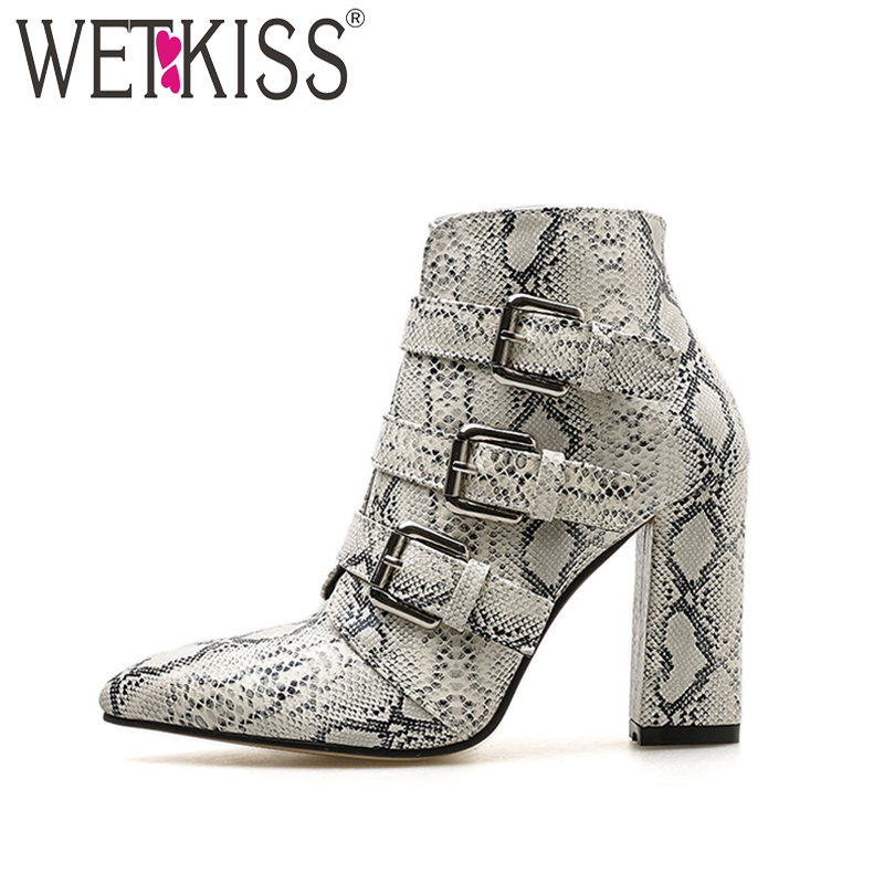 WETKISS Thick High Heels Women Boots Pointed Toe Pu Footwear Snake Print Female Boot Fashion Black Shoes Women 2018 Autumn NewWETKISS Thick High Heels Women Boots Pointed Toe Pu Footwear Snake Print Female Boot Fashion Black Shoes Women 2018 Autumn New