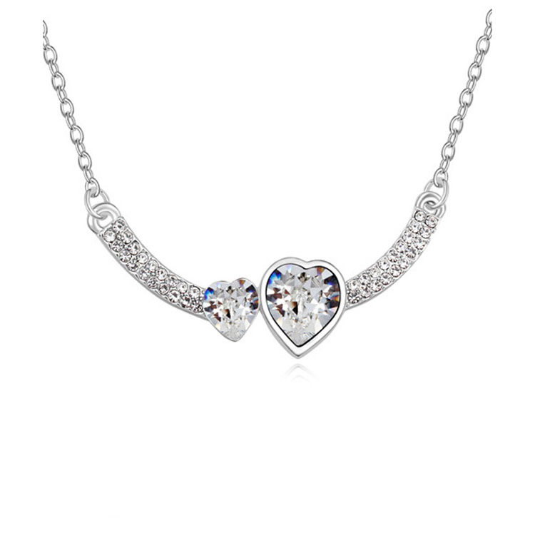 Double Crystal Heart Pendant Necklace 3