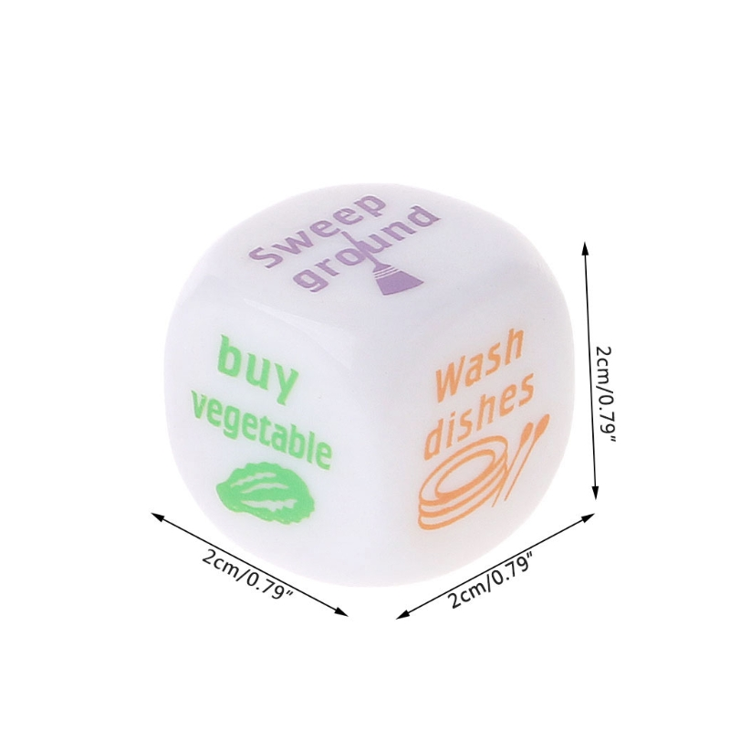 Fun Housework Dice 20mm Acrylic Family Dice For Allocation Wash Clothes Cooking Couple Game Accessories