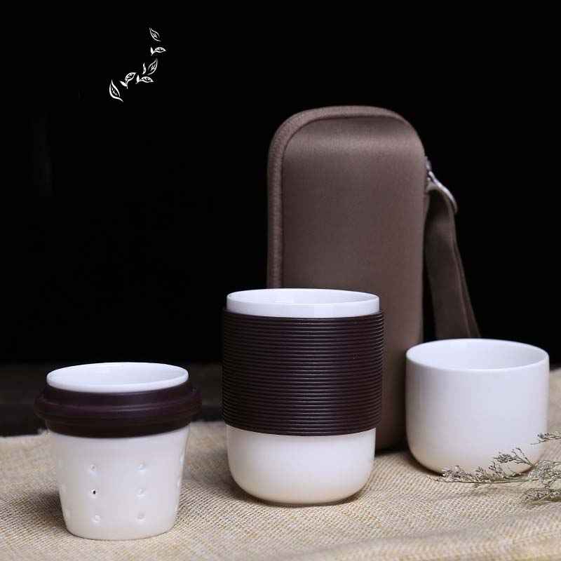 Kungfu Tea Ceramic Morning Mug with Strainer and Case Multipurpose Mini Mugs for Tea Flower Tea Gift for Friends SH181-145
