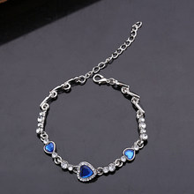 Women Lady Fashion Zircon Rhinestone Bangle Ocean Heart Pendant Bracelet Jewelry(China)