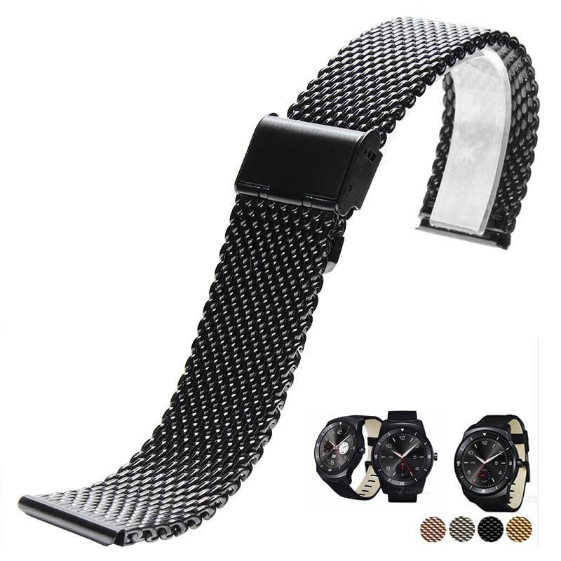 Milanese Strap Quick Release 22mm LG G Watch R W100 W110 Urbane W150 black Stainless Steel Watch Band Bracelet lg watch lg watch w150 urbane silver