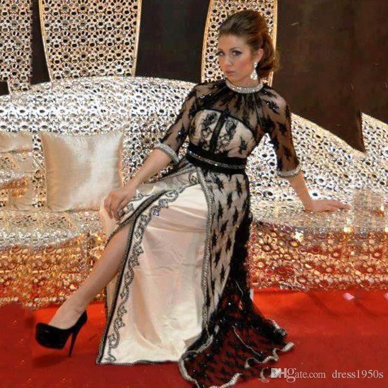 2019 Black Lace Evening Dress With Half Sleeves Beaded Crystal Caftan Dubai Arabia Vestido Longo Robe De Soiree Prom Dresses