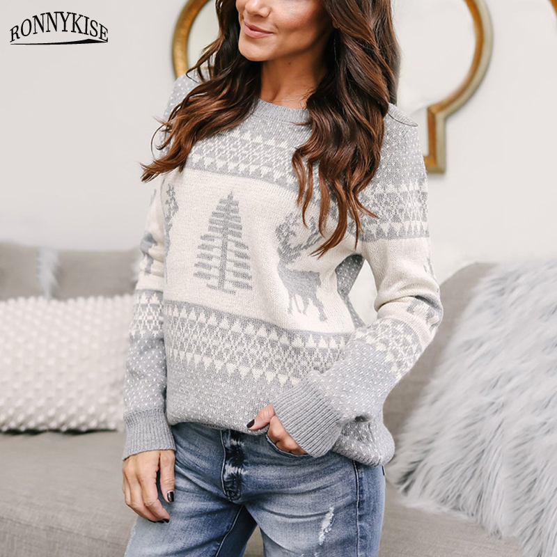 RONNYKISE Knit Sweater Women Fashion Long Sleeved Pullovers Cute Sweaters Elk Jacquard Christmas Sweater Pullovers in Pullovers from Women 39 s Clothing