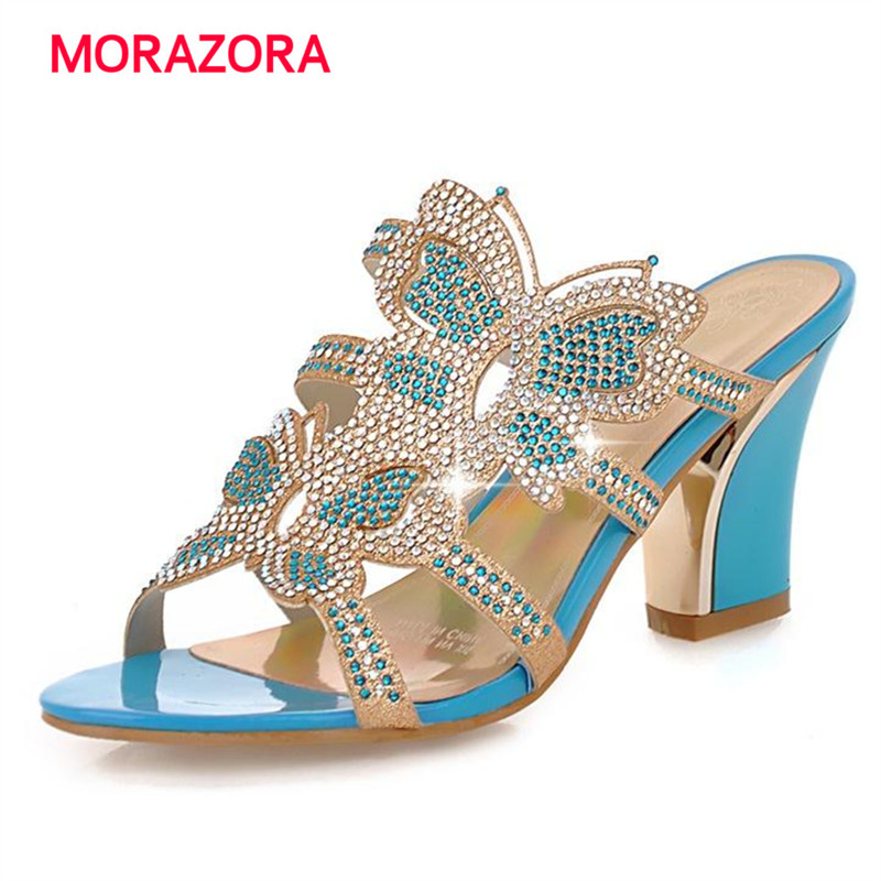 MORAZORA Two colors high heels shoes rhinestone big size 32-43 party shoes summer women sandals fashion elegant morazora big size 34 43 high heels shoes spring autumn women pumps party wedding shoes bride two colors solid fashion europe