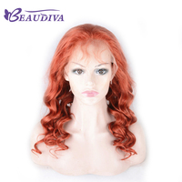 BEAUDIVA Human Hair Wigs For Black Women Red Brazilian Remy Lace Front Wig Body Wave Pre