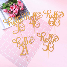 1pcs/set Gold Glitter Hello 30,21,40,50,60 Cake Topper Thirty Birthday Wedding Party Decoration Supplies