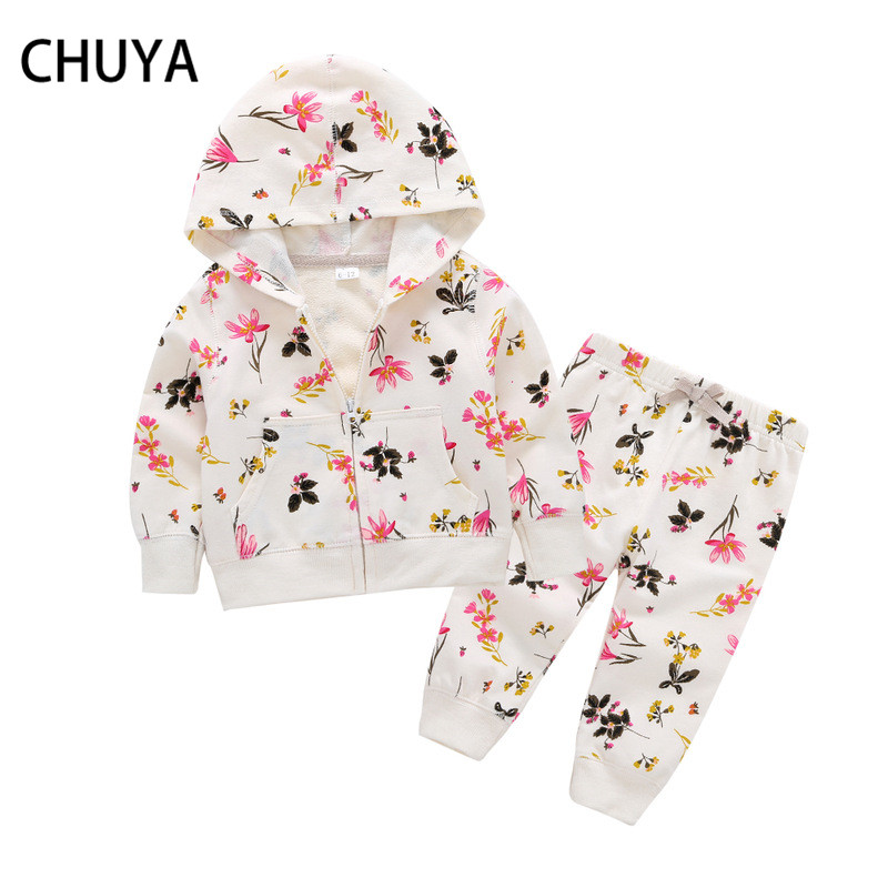 CHUYA 6M-3T Spring Autumn Baby Girl Clothing Set Girls Suit Set Clothes Infant Hoodies Tops Coat +Pants Toddle 2pcs Outfits