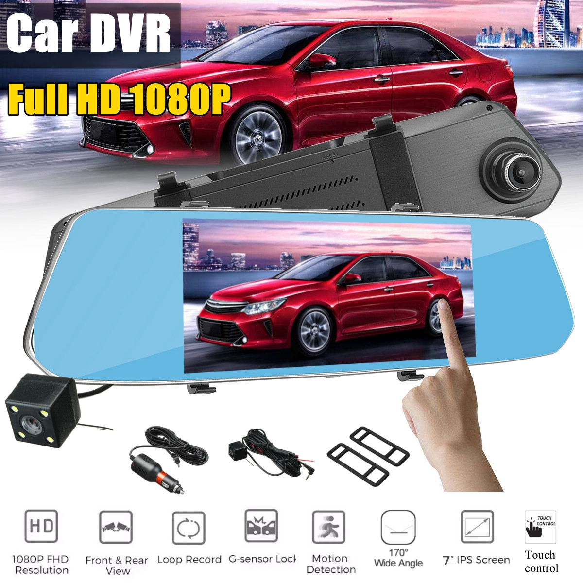 HD 1080P 2.5D Screen Touch Display Dual Lens 7 Inch Rearview Mirror Camera Recorder Car DVR Dash Cam G-sensor