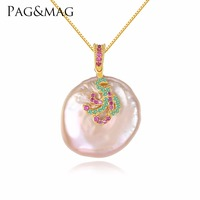 PAG&MAG White/Pink Color Large Size Tissue Nucleated Flameball Shape Natural baroque Pearl Pendant 925 Sterling Silver Necklace